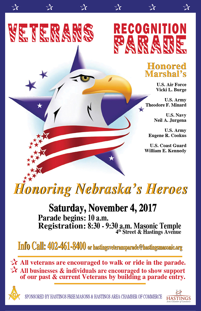Veterans recognition parade hastings ne chamber of commerce if you would like to have a parade entry please print and fill out this form and return to the hastings area chamber of commerce located at 301 south publicscrutiny Choice Image